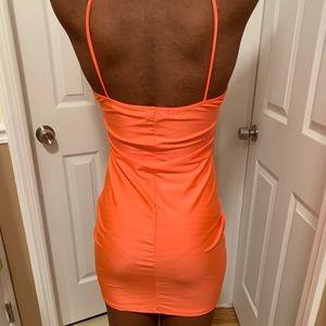Spaghetti strap mini satin dress